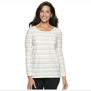 Dana Buchman Lurex Stripe Sweater